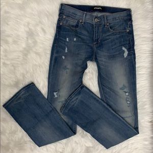{Express} Mid Rise Barely Boot Distressed Jeans